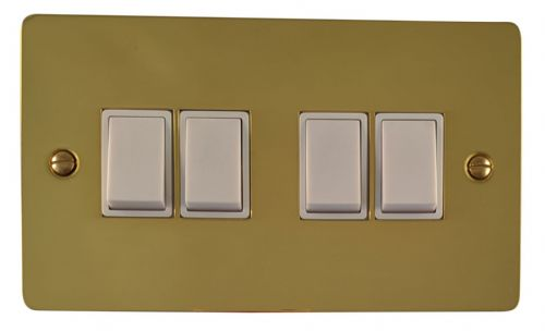 G&H FB4W Flat Plate Polished Brass 4 Gang 1 or 2 Way Rocker Light Switch